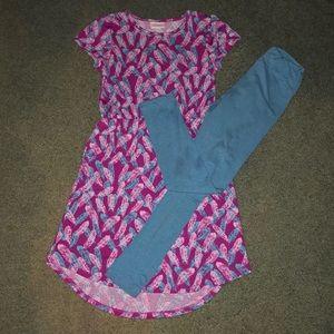 Lularoe dress and leggings set